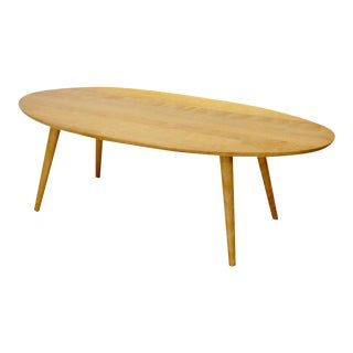 Russel Wright Conant Ball Blonde Oval Cocktail Table For Sale