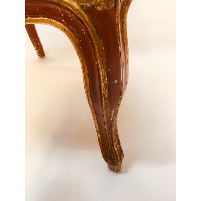 Red 19th Century Venetian Louis XV Style Painted and Gilt Armchairs- A Pair For Sale - Image 8 of 13