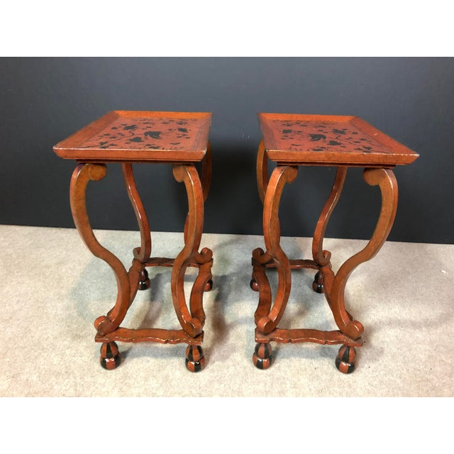 Asian Lacquered and Painted Tray Top Side Tables - a Pair For Sale - Image 3 of 11