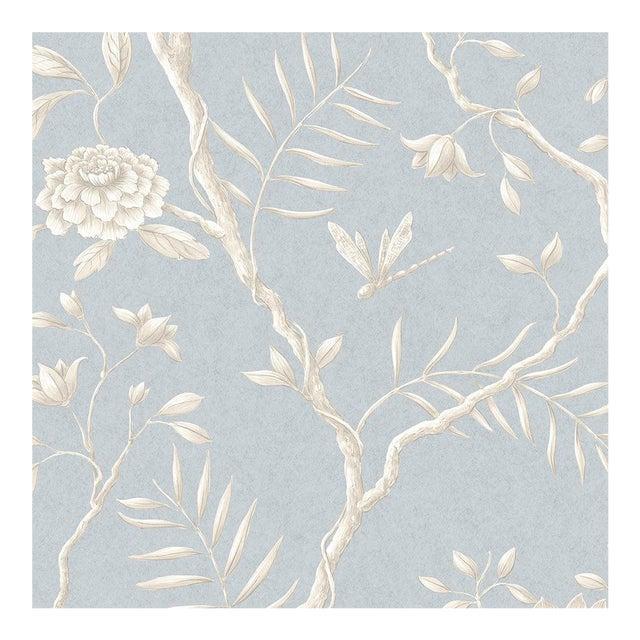 Lewis & Wood Jasper Peony Cirrus Botanic Style Wallpaper Sample For Sale