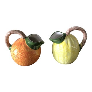1970s Vintage Italian Porcelain Fruit Pitchers- A Pair For Sale