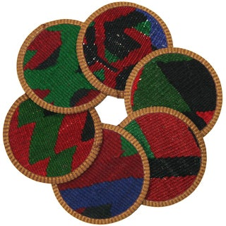 Rug & Relic Kilim Coasters, Karacabey - 6 For Sale