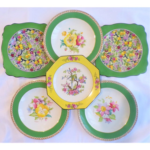 This is a beautiful set of 1930's Crown Ducal Ware Chintz, Aviary and Floral Plate Set. This beautiful grouping includes...