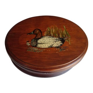 Vintage Oval Wooden Duck Box