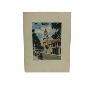 """Vintage Mid-Century """"The Cathedral Saint Augustine Florida"""" Hand-Colored Photograph For Sale"""