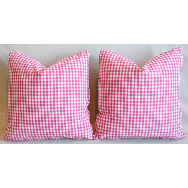"French Manuel Canovas Floral Linen Feather/Down Pillows 20"" Square - Pair For Sale - Image 10 of 13"