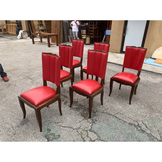 1940s Vintage French Art Deco Solid Mahogany Dining Chairs - Set of 6 For Sale - Image 9 of 13