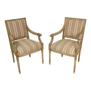 Vintage Mid Century Louis XVI Style Painted Armchairs- A Pair For Sale
