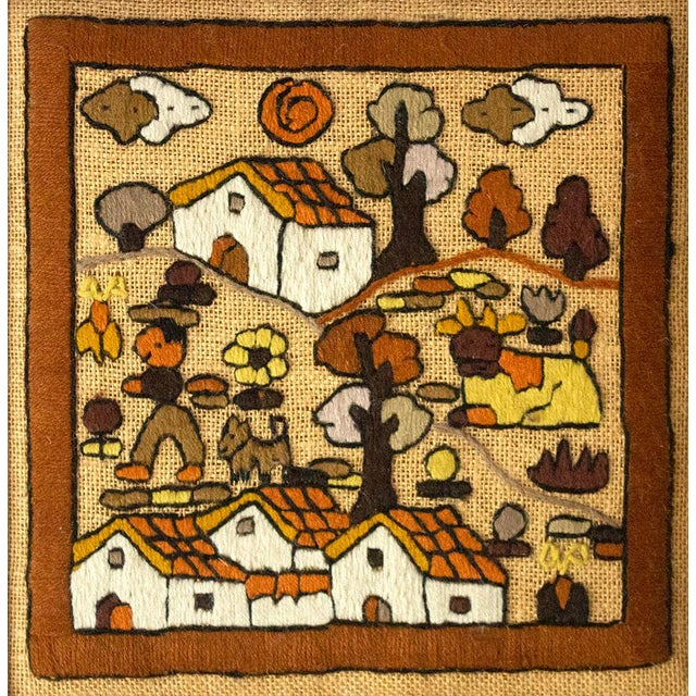 A unique piece of folk art hand embroidery, for a collage or gallery wall. This piece has a gorgeous warm-toned color...