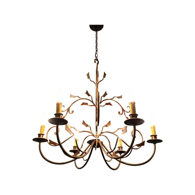 6-Light Bronze Iron Foliage Chandelier - Image 1 of 4