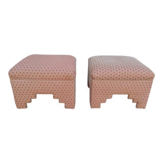 Upholstered Moroccan Style Ottomans - a Pair For Sale