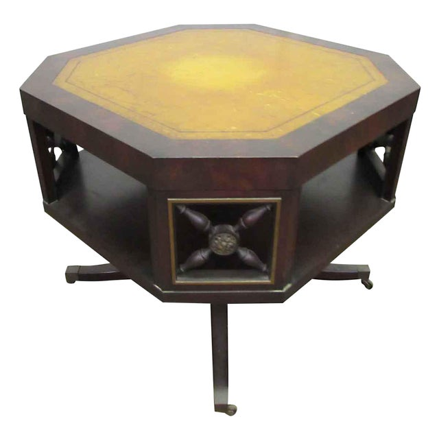 Leather Top Rolling Table - Image 1 of 10