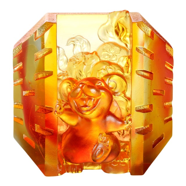 """Crystal Mouse """"Open to Joy"""" Limited Edition Zodiac Sculpture For Sale"""