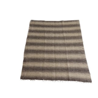 Handmade Ukranian Wool Blanket - Thin Grey Stripes For Sale