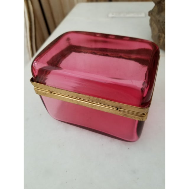 Antique Cranberry Glass Box For Sale In San Antonio - Image 6 of 7