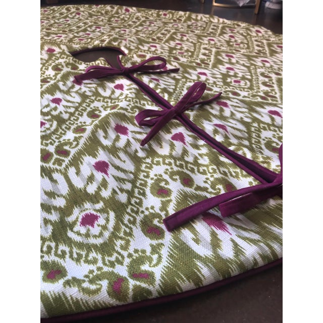 Green and Purple Ikat Tree Skirt For Sale - Image 4 of 5