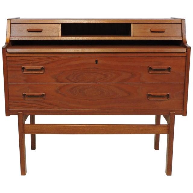 Arne Wahl Iversen Danish Modern Teak Secretary Desk Model 70 For Sale - Image 12 of 12