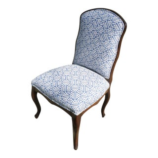 Louis XV Fruitwood Side Chair Covered in Fortuny For Sale