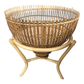 Boho Chic Rattan Fish Trap Side Table For Sale