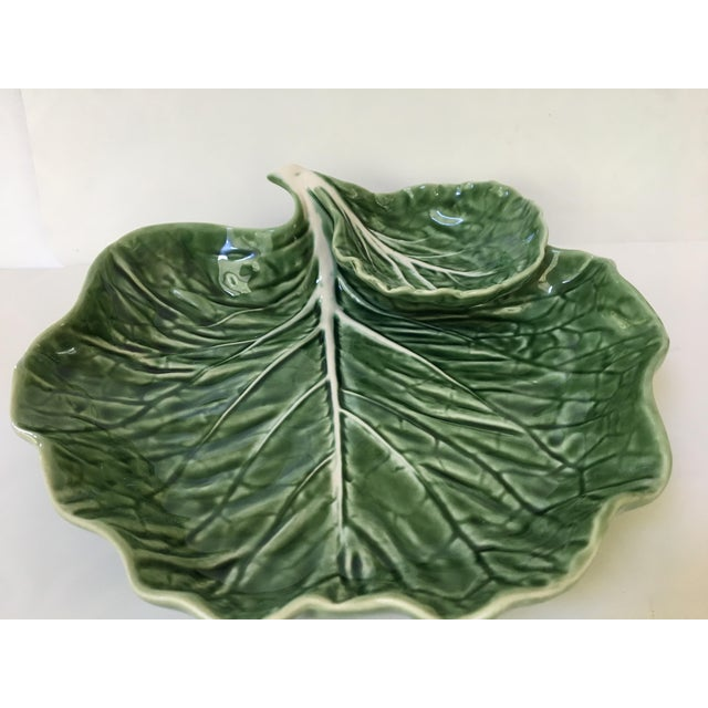 Cottage Made in Portugal-Majolica Green Cabbage Leaf Serving Platter and Dip Bowl For Sale - Image 3 of 11