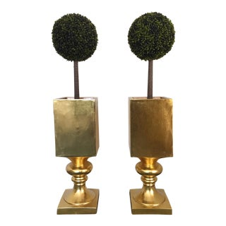 Spectacular Large Hollywood Regency Gold Gilt Pedestal Planters - A Pair For Sale