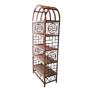 1970s Vintage Chinoiserie Bamboo Rattan Etagere For Sale
