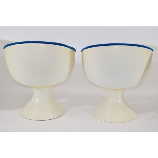 Fiberglass Space Age Style Bubble Chairs in Blue Velvet by Chromecraft -Set of 4 For Sale - Image 7 of 7