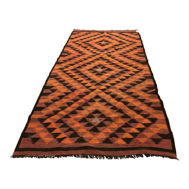 Vintage Turkish Geometric Kilim Rug - 4′3″ × 10′1″ For Sale