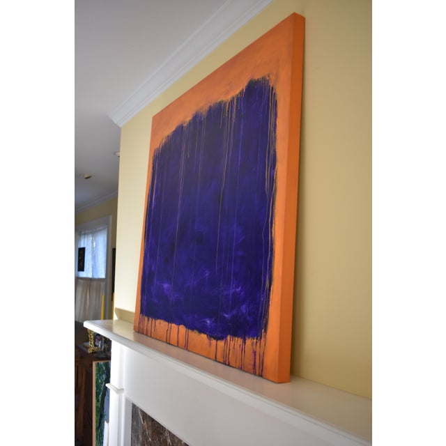 """Blue Stephen Remick """"Tempest"""" Abstract Painting For Sale - Image 8 of 12"""