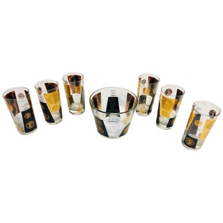 Vintage Mid Century Barware Ice Bucket & Glasses Cocktail Set For Sale