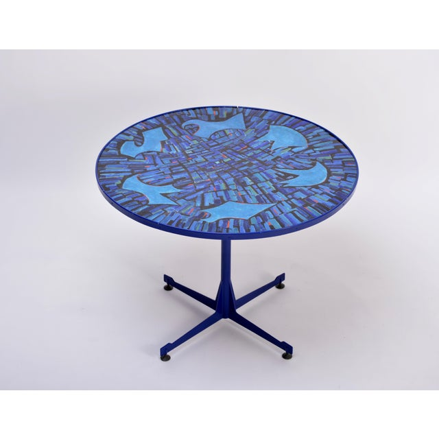Tall Blue Italian Midcentury Dining Table With Enameled Copper Top, 1950s For Sale - Image 9 of 9