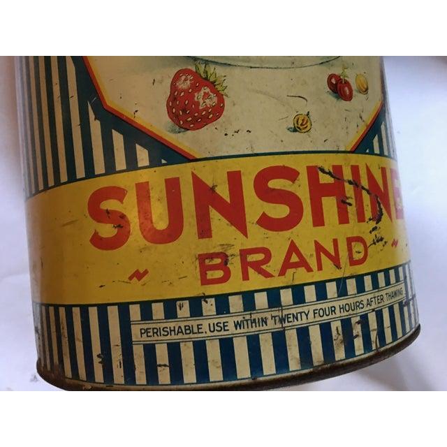 1950s Vintage Sunshine Brand Fruit Tin For Sale - Image 5 of 11