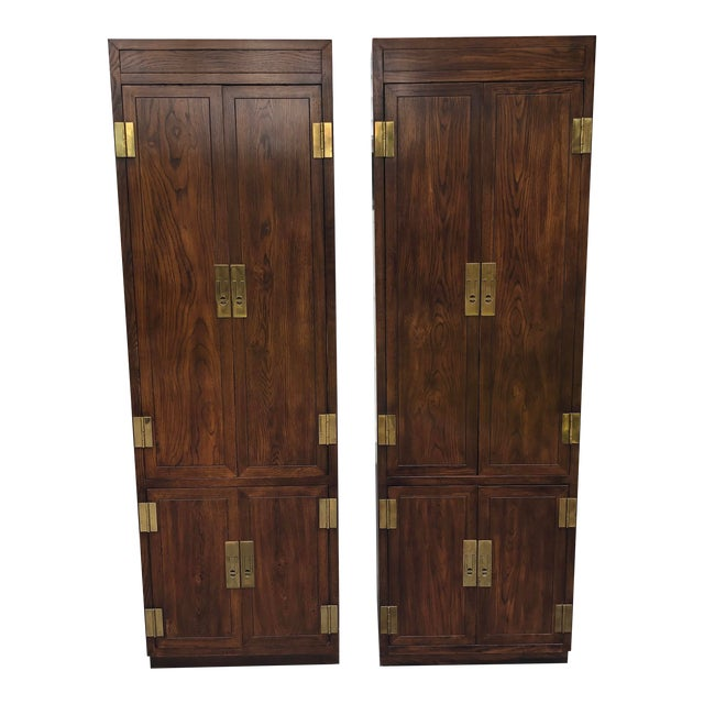 Henredon Scene One Campaign Style Armoire Cabinets 1980s - a Pair For Sale