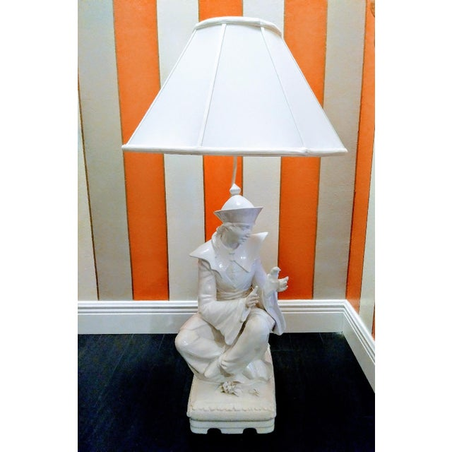 Rare Vintage Monumental Italian Ceramic St Francis of Assisi White Massive Table Lamp For Sale - Image 10 of 10