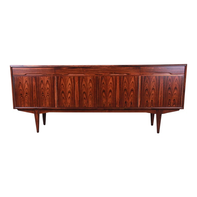 Danish Modern Rosewood Sideboard Credenza, Newly Refinished For Sale