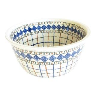 Ceramika Artystyczna Boleslawiec Polish Pottery Large Mixing Serving Bowl With Geometric Pattern For Sale
