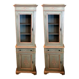 Bloomingdale's Green Italian Cabinets - A Pair