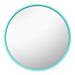 Pentreath & Hall Collection Large Round Mirror in Olive Green / Tiffany Blue For Sale