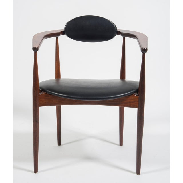 Rare leather Mid Century Pair of armchairs by Adrian Pearsall for Craft Associates, model 950-C model. Walnut with new...