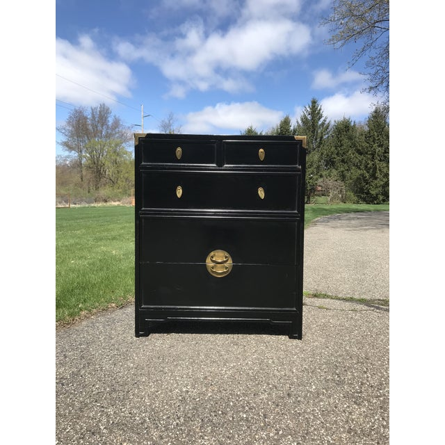 """Ebonized and Brass """"the Lotus"""" Highboy Dresser by Kent Coffey For Sale - Image 6 of 6"""