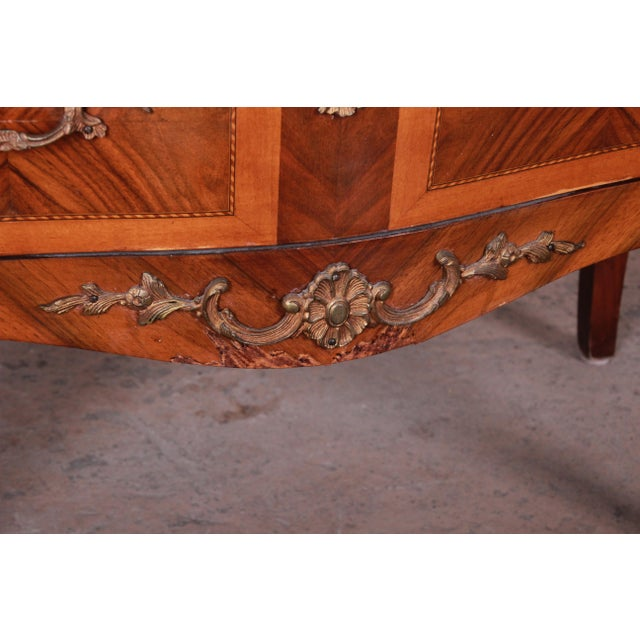 Louis XV Style Inlaid Mahogany Marble Top Nightstands or Commodes, Pair For Sale - Image 11 of 13