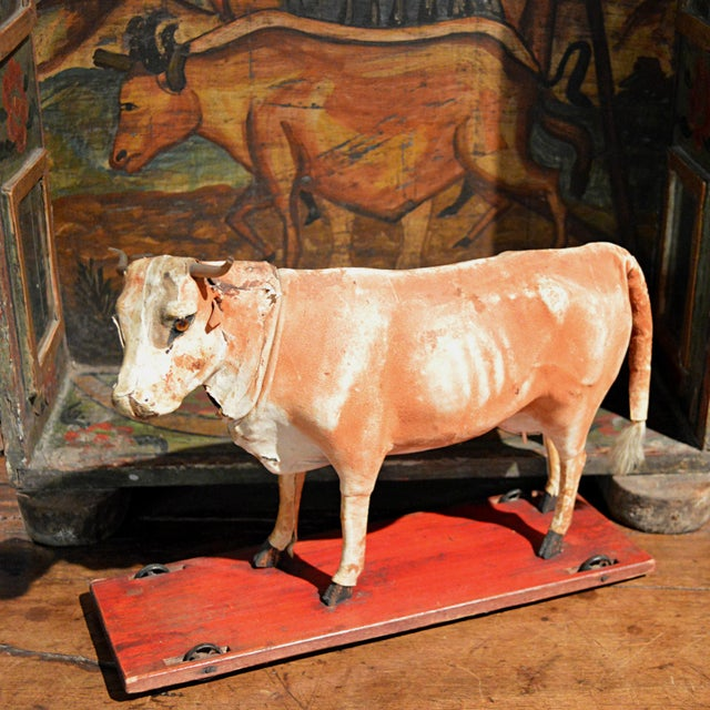 Vintage Leather Cow Pull Toy - Image 3 of 11