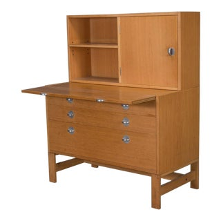 Oak Bookcase Unit and Chest With Stainless Steel Handles For Sale