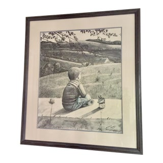 Vintage Thomas Kerry Tomato Soup in the Backyard Lithograph, Framed For Sale