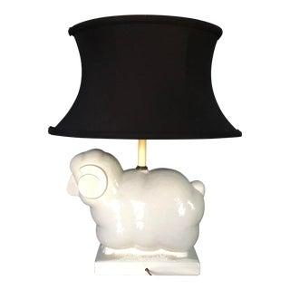 Pottery Barn Modern Sheep Ewe Ram Lamp With Custom Shade & Finial For Sale