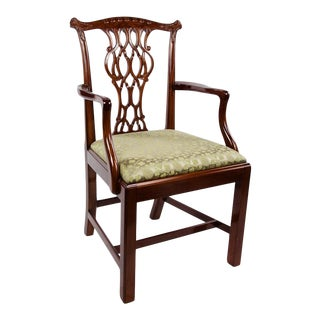 Scully & Scully Classic Chippendale Carved Solid Rosewood Silk Covered Side Chair For Sale