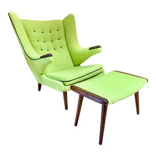 1960s Vintage Hans Wegner Domus Danica Papa Bear Chair and Ottoman For Sale