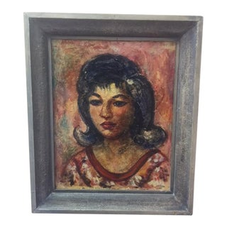 Vintage 1961 Mid-Century Portrait Painting of a Young Woman Painting