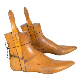 Early 20th C. French Solid Maple Boot Inserts C.1900 For Sale