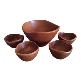 Mid-Century Modern Sculptural Teak Bowls - Set of 5 For Sale
